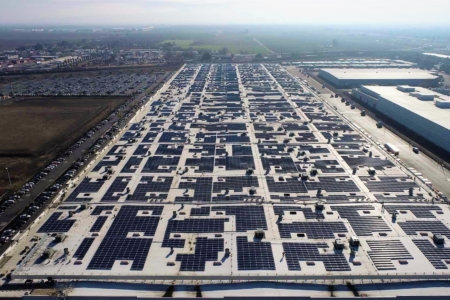 aerial shot of a rooftop solar project
